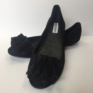 STEVE MADDEN Black Suede 'Pennee' Peep-Toe Flats